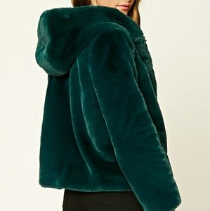 Forever 21 Green Fur Hooded Jacket size S